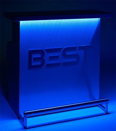 BEST DELUX Bar Customized With Logo, Blue Light in Dark Room