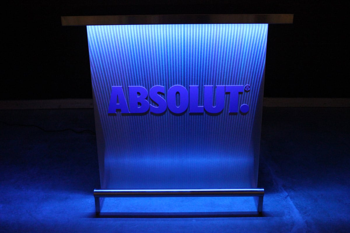 Custom Branded Delux Portable Bar With Absolut Vodka Logo In Matching Pantone Color Blue Lights