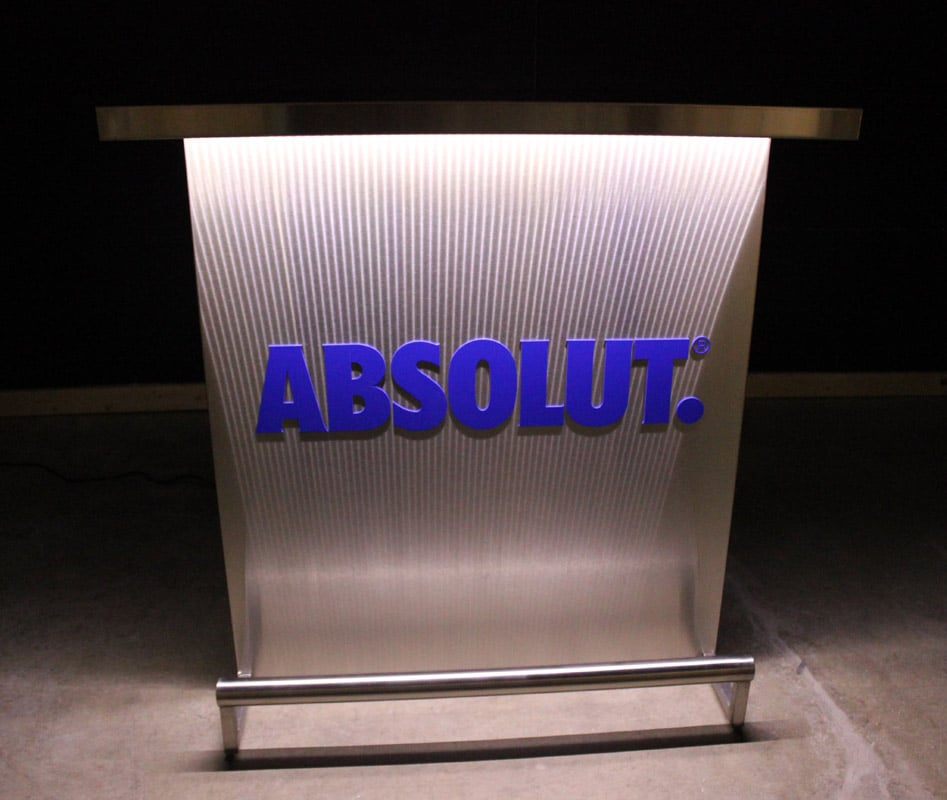 Custom Branded Delux Portable Bar With Absolut Vodka Logo In Matching Pantone Color White Lights
