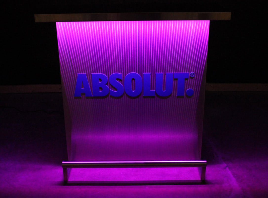 Custom Branded Delux Portable Bar With Absolut Vodka Logo In Matching Pantone Color Dark Pink