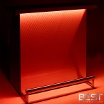 DELUX bar is the best portable bar - shown here with orange 3d holographic lights in dark light