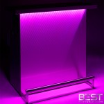 DELUX bar is the best portable bar - shown here with pink 3d holographic lights in dark light
