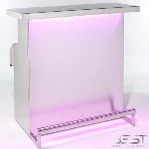 DELUX bar is the best portable bar - shown here with pink 3d holographic lights in bright room