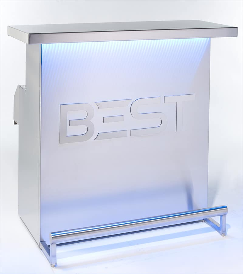 Spectacular And Elegant Delux Portable Bar By Best With Blue Holographic Lights
