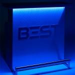 Spectacular and Elegant DELUX Portable Bar, by BEST, with blue 3d holographic lights in the dark