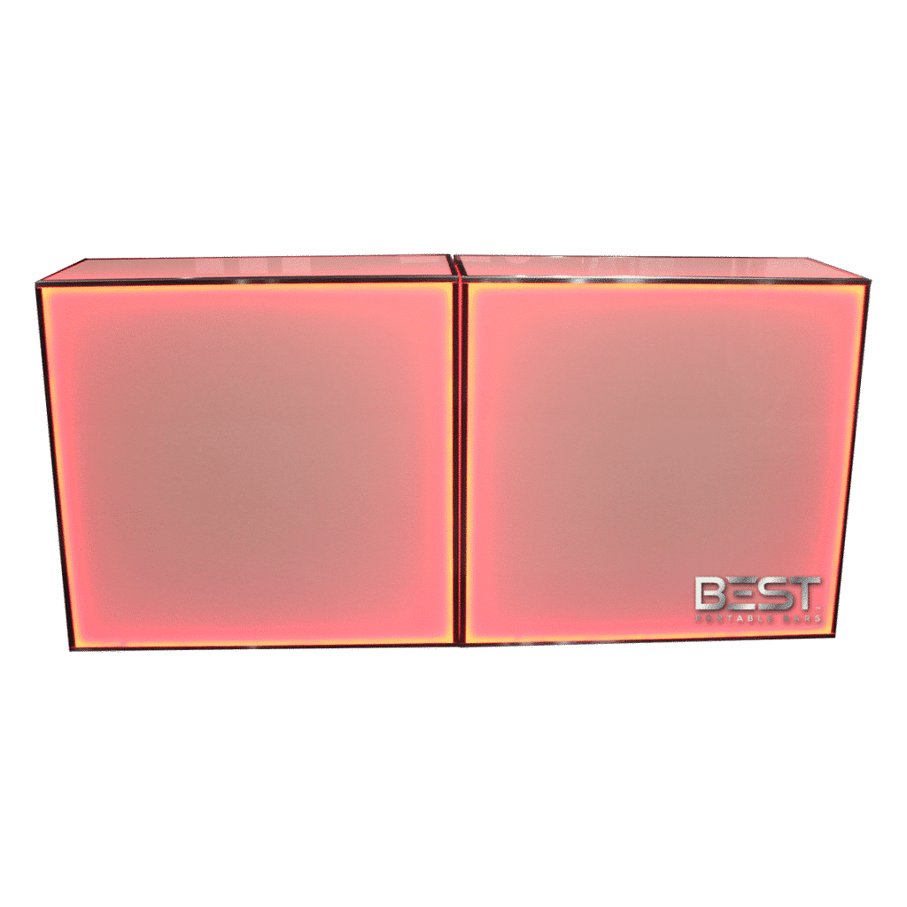 Red Back Lit Double Wide PlexBoX 4 foot Portable Bar