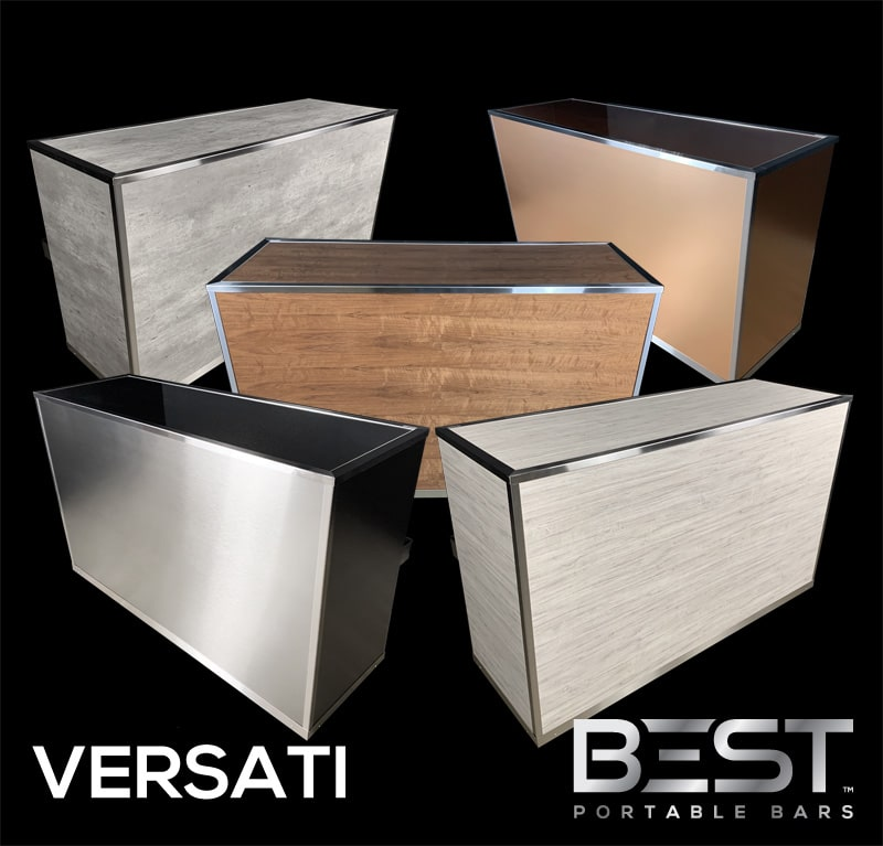 VERSATI Mobile Bar On Wheels - One Bar, Unlimited Looks!